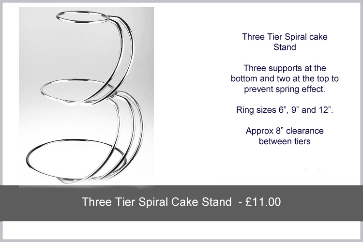 Wedding Cake Stand Hire   Three Tier Spiral Stand .