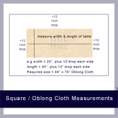 Measurements for square and oblong table cloths
